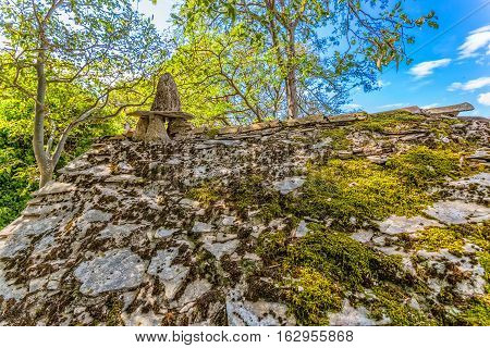 Ruins of typical house in Tucepi old village in the slope of a mountain Biokovo.