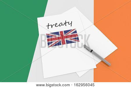 Irish Politics: UK Treaty Note On Ireland Flag 3d illustration
