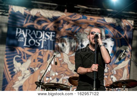 BELGRADE, SERBIA - JUNE 28TH: ENGLISH GOTHIC METAL BAND PARADISE LOST PERFORMING ON BELGRADE CALLING FESTIVAL ON JUNE 28TH 2012, IN BELGRADE, SERBIA