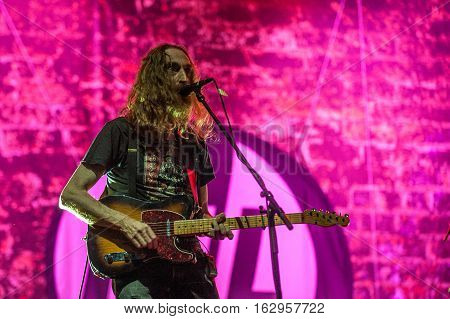 BELGRADE, SERBIA - JUNE 29TH:GUITAR PLAYER LU EDMONDS OF BRITISH BAND PUBLIC IMAGE LIMITED PERFORMING ON BELGRADE CALLING FESTIVAL ON JUNE 29TH 2012, IN BELGRADE, SERBIA