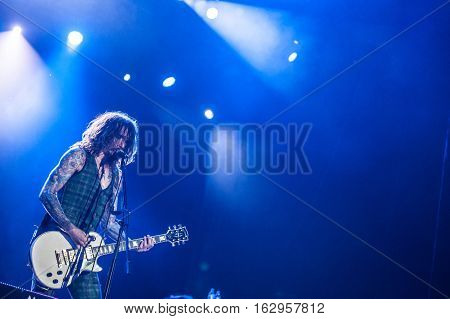 BELGRADE, SERBIA - JUNE 29TH: GUITAR PLAYER JUSTIN HAWKINS OF BRITISH BAND THE DARKNESS PERFORMING ON BELGRADE CALLING FESTIVAL ON JUNE 29TH 2012, IN BELGRADE, SERBIA