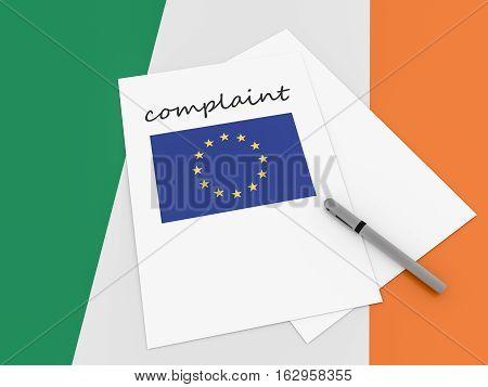 Irish Politics: EU Complaint On Ireland Flag 3d illustration