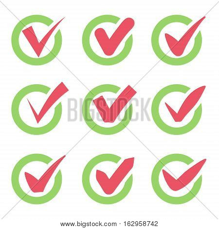 Check mark icons. Red tick check marks in green circles. Vector illustration