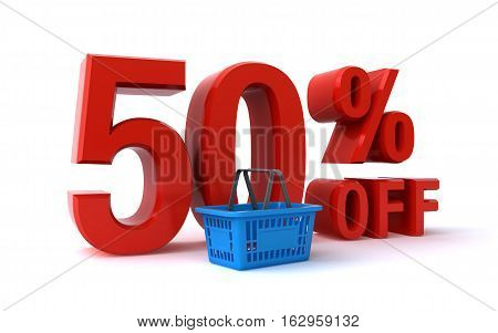 50 percent discount sign with a shopping basket (3d rendering)