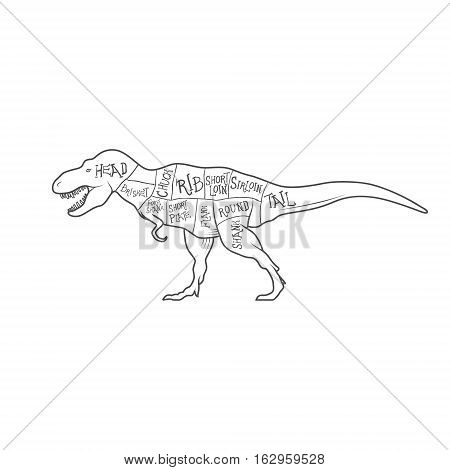 Dinosaurs illustration with cut scheme on white background. Vector illustration