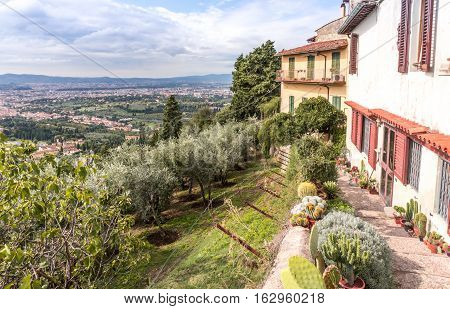 Over looking Tuscany from the city of Fiesole Florence Italy