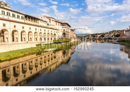 Vasari Corridor and reflaction on the Arno river