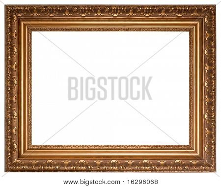 Gold picture frame with a decorative pattern