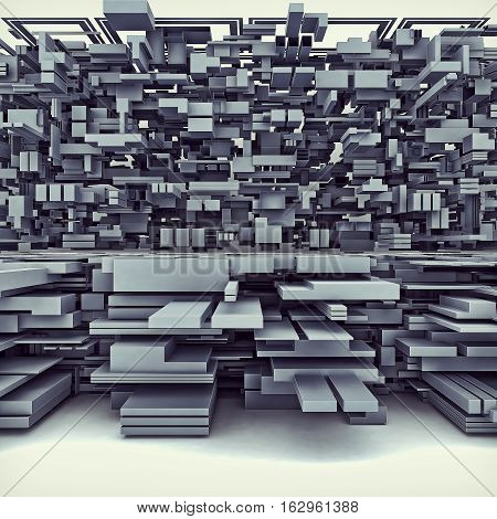 3D Illustration Of Futuristic Megalopolis City Of Boxes