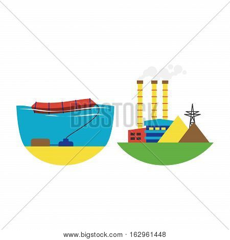 Power alternative energy and eco wave station turbine technology. Renewable nature environmental industry. Source electricity conservation set vector illustration.