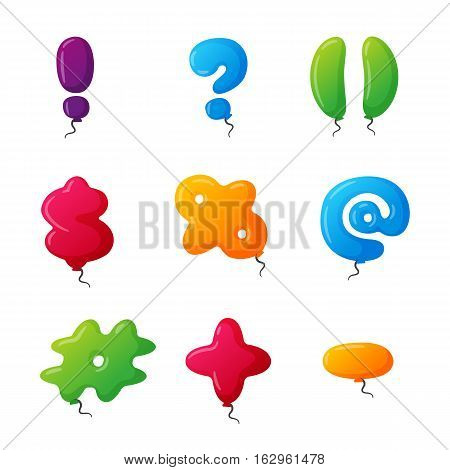 English balloon colorful mark on white background. Holidays and education ozone type sign. Greeting helium cartoon festive decoration vector illustration.