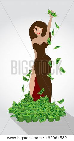 Dolar. heap of money mountain woman. Simple fashion symbol for web site design or a button for mobile applications. Logo Illustrations