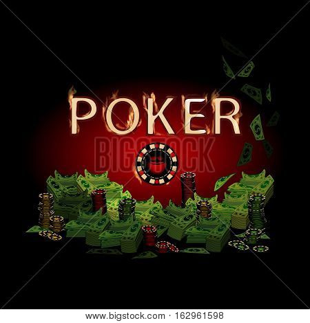 Poker legend fire. Money on a dark background. Simple fashion symbol for web site design or a button for mobile applications. Logo Illustrations