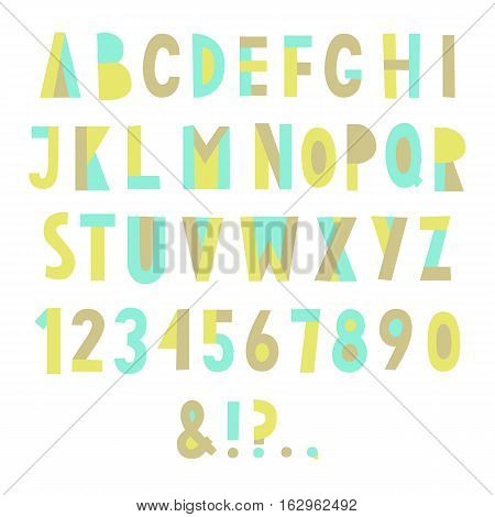 Colorful geometric font. Vector hand drawn letters