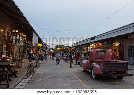 BANGKOK THAILAND - SEPTEMBER 17 2016: Night market at Srinakarin road that name is train market. This market is open every Wednesday to Sunday.