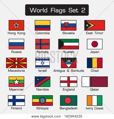 World flags set 2 . simple style and flat design . thick outline .