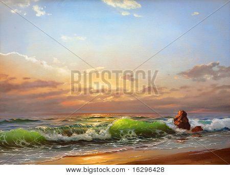 Sea landscape on a sunset