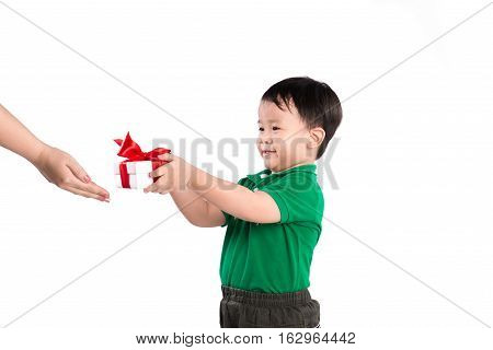 Little son giving present to his mother