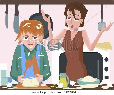child cooking at kitchen and messing - funny vector cartoon illustration