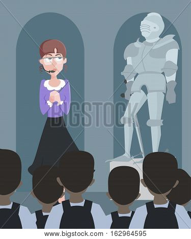 tour of the history museum - funny vector cartoon illustration