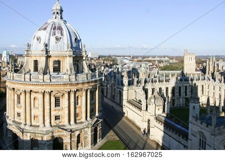 Oxford England - Jan 3 2010: High angle view of Radcliffe Camera in Oxford a cloudy day. View from University church. It is a building of Oxford University designed in neo-classical style house of the Radcliffe Science Library.
