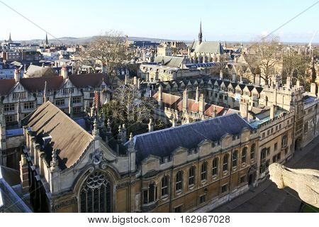 Oxford UK - Jan 3 2010: High angle view of High Street of Oxford and Brasenose College. View from University Church.