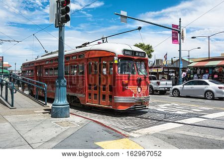 San Francisco,California,USA - June 27, 2015 : Red Historic streetcar at Fisherman Wharf