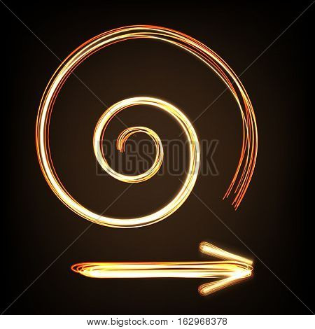 Arrow sign and spiral image fire-show style