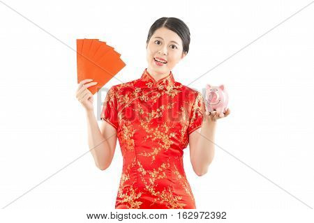 Woman Holding Red Envelope And Piggy Bank