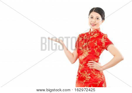 Chinese Woman Presenting Gesture Hand