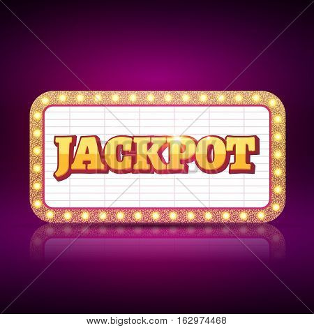 Vector Jackpot banner symbol. Casino game neon sign of jackpot success concept.