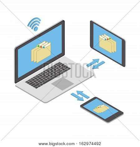 Wireless technologies. The concept of wireless data transmission and sharing of information on various mobile devices. Vector isometric illustration
