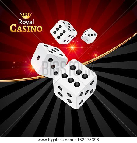 Dice vector casino design background. Dice gambling template concept. Casino background.