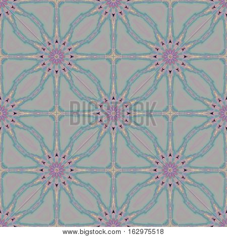 Seamless floral background in quiet colors. Regular abstract blossoms in violet and blue gray shades on light gray shifted.