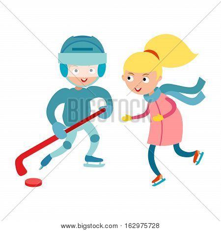 Hockey player boy with stick, attitude and bandage on face. Winter sport athlete uniform in helmet equipment. Cute pretty tough confident smiling girl skating vector.