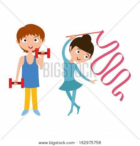 Boy with dumbbells fitness attractive kid. Healthy lifestyle energy athletic sport. Young child workout gym training cartoon sporty energy vector. Flexibility gymnastic girl.