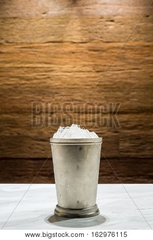 Stainless Ice Bucket On The Marble Counter