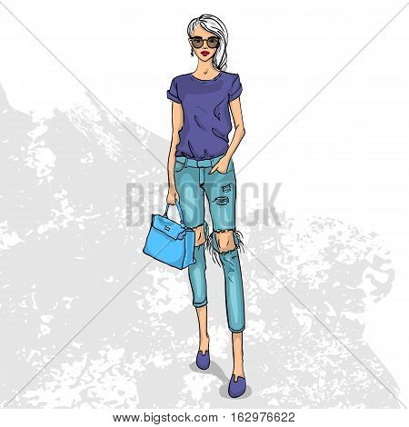 High trendy color look. Glamor stylish beautiful young woman model. Bright colorful cloth. Fashion style
