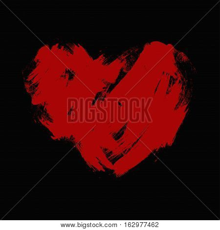 uneven red heart on a black background