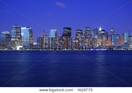 Lights Of Nyc Skyline Just After Sunset