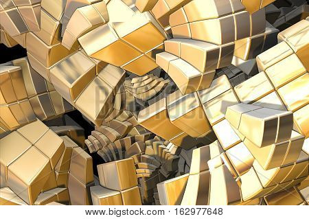 computer generated fractal golden curved iterated stairs