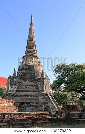 pagoda ancient famous in wat Phra Sri Sanphet ancient beautiful Royal Palace in Ajutthaya travel Thailand