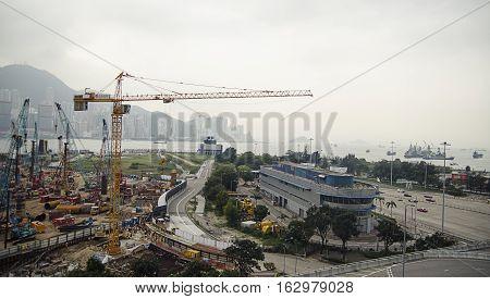 Hong Kong, China - November 12, 2014: Large-scale construction in the city