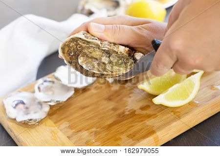 Someone hands opening raw oysters shells, close up view