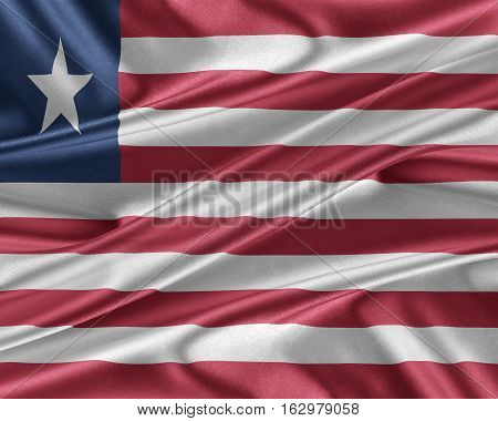 Liberia flag. Flag with a beautiful glossy silk texture. 3D illustration.
