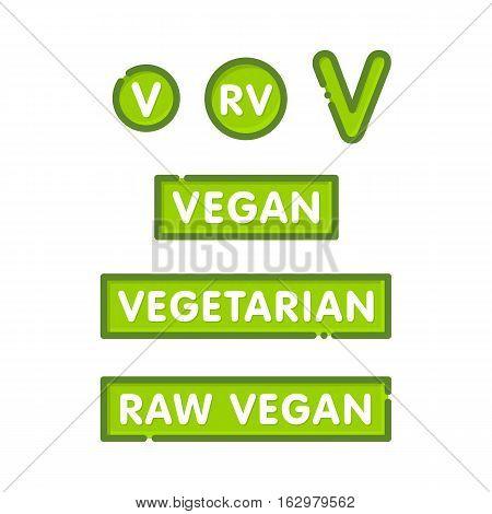 Vegan, vegetarian and raw-vegan graphic style badges for healthy cafe menu