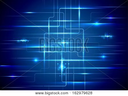 Blue abstract circuit board technology concept background