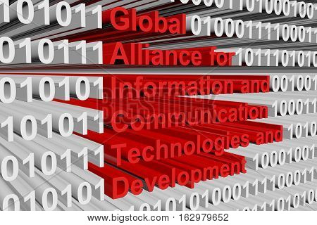 Global Alliance for Information and Communication Technologies and Development in the form of binary code, 3D illustration