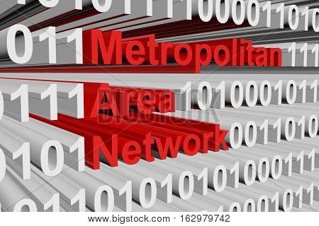 Metropolitan area network in the form of binary code, 3D illustration
