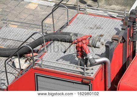 Fire Equipment red in car closeup .
